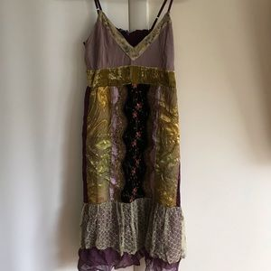 NWT Hale Bob velvet and lace embroidered dress